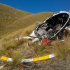 The wreckage of the Robinson R22 helicopter which crashed in the Lindis Pass in 2016. PHOTO: CAA...