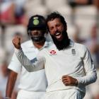 England's Moeen Ali celebrates taking the wicket of India's Ajinkya Rahane. Photo: Reuters