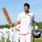 England captain Alistair Cook walks off after scoring a century in his final test innings. Photo:...