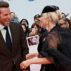 Bradley Cooper poses with Lady Gaga at the world premiere of A Star is Born. Photo: Reuters