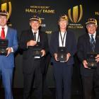 Ronan O'Gara, Pierre Villepreux, Liza Burgess and Bryan Williams after being inducted to World...