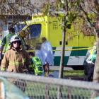 Police and ambulance staff at South End School in Carterton yesterday. Photo: NZME
