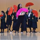Chinese folk dance teacher Yujia Song, of Christchurch, teaches year 9 Columba College pupils a...