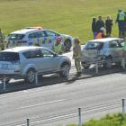 Two cars crashed on Dunedin's Southern Motorway this morning. Photo: Gerard O'Brien