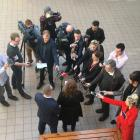 Clare Curran speaks to media at her electorate office in South Dunedin today. Photo: Stephen...