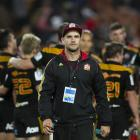 Chiefs dietitian Dane Baker patrols the sidelines during a Super Rugby match. Baker was in...