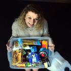 University of Otago student Jennifer Forrest with her emergency kit. Photo: Peter McIntosh