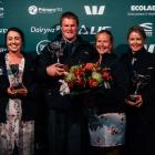 Southland-Otago section winners of the New Zealand Dairy Industry Awards are (fromleft) dairy trainee Simone Smail, share farmers Simon and Hilary Vallely, and dairy manager Jaime McCrostie. Photo: Supplied