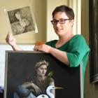 Oamaru artist Gemma Campbell shows two of her works. Photo: Stephen Jaquiery