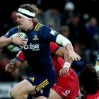 Highlanders flanker James Lentjes on the run against the Crusaders earlier this year. Photo:...