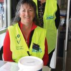 Two volunteers Jo Wilson and Agnes Harvey (standing) manning the station at Fresh Choice Te Anau....