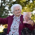 Muriel Bayne celebrates her 100th birthday at Larnach Castle yesterday. Photo: Peter McIntosh