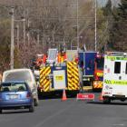 Police cordon off Chaucer St in Milton after a chemical spill. Photos: Jack Conroy