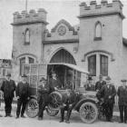The North Otago motor ambulance with some members of the Oamaru St John's Ambulance Association...