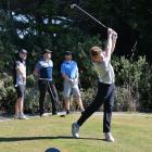 North Otago matchplay winner Callum Judkins  tees off during the tournament in Oamaru over the...