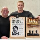 Creators of award-winning publicity posters for Dunedin's Globe Theatre, Keith Scott (left) and...