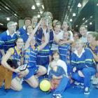 The  Otago Rebels team celebrates winning the national netball title in 1998. Photo: ODT