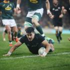 Rieko Ioane scores a try against South Africa on Saturday. Photo: Getty Images