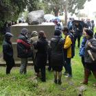 A group of 95 school principals from around New Zealand spend time at Rongo Memorial Rock on the...
