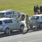 Traffic backs up in the northbound lane of the Southern Motorway for more than 1km after an...