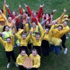 St Hilda's Collegiate pupils Elisa Fitzgerald (13, left) and Sofia Johnston (12) hold the NZCAF...