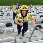 Dunsandel firefighters Matt McIntyre (front) and Luke Bain continue their 5000-step grind around...