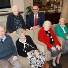 Yvette Williams Retirement Village residents (front, from left) Prof Alan Horsman (99), Monica...