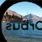 The reversed Orbus logo on Queenstown bus windows provides a whole new view for passengers of...