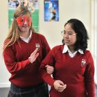 Kaikorai Valley College year 10 pupil Emma Hedges needs a guiding hand from fellow pupil Katha...
