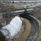 Work on the Leith flood protection scheme, just upstream from the University of Otago's...