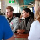 The Duke and Duchess of Sussex chat with young people from mental health projects operating in...