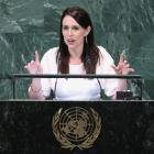 Prime Minister Jacinda Ardern speaks during the United Nations General Assembly in New York....
