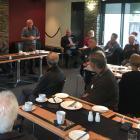 Iceinline committee member Earnscy Weaver addresses the audience at yesterday's Alexandra Clyde...