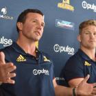 Highlanders coach Aaron Mauger (left) and flanker James Lentjes at a press conference in Dunedin...