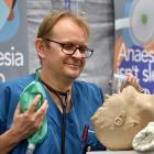 Dunedin Hospital consultant anaesthetist Andrew Smith shows how to ventilate a patient, part of a...