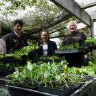 Tokomairiro High School horticulture class (from left) teacher Sue Nelson, Levin Coulter (16),...