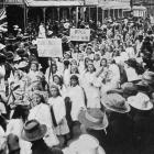 Caversham School pupils march in a parade in Dunedin at the conclusion of an inter-school copper...