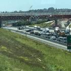 Traffic was stopped by police on the Northern Motorway in Albany. Photo: Supplied via NZ Herald