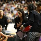 Silver Ferns coach Noeline Taurua, pictured stressing a point to her players during the Ferns' 55...