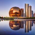 The International Conference building (left) makes up a part of the cityscape of Hangzhou, China....