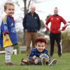 Harry Finch, 3 (right), with his identical twin brother Ollie in Dunedin recently. Photo: Stephen...