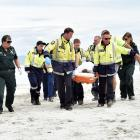 Emergency service personnel from the police, St John ambulance and the Brighton Volunteer Fire...
