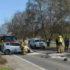 The Honda hatchback which rolled several times in Kaikorai Valley Rd yesterday afternoon, leaving...