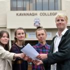 Former Kavanagh College pupils (left to right) Claudia Unkovich-McNab, Rose Murphy, Alex Gorrie...