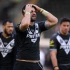 Jesse Bromwich of shows his disappointment after defeat in the International Series match between...