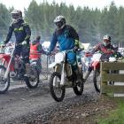 The first wave of more than 900 off road motorcycle riders head away at the start on the16th annual Lakes to Sea trail ride for off road bikes and ATVs at Milton. Photo: John Cosgrove