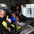 Brodie (11, left), Tameka (4) and Isaac McNamara (2), of Oamaru, check out the Waitaki Rural Fire...