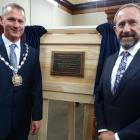 Waitaki Mayor Gary Kircher (left) and Justice Minister Andrew Little with a plaque to mark the...