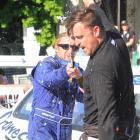 Waimate 50 shootout winner Josh Mitchell (left) sprays  third place finisher Ben Terry. Photos:...