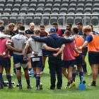 The Otago players huddle during team training at Forsyth Barr Stadium this week. Photo: Gregor...